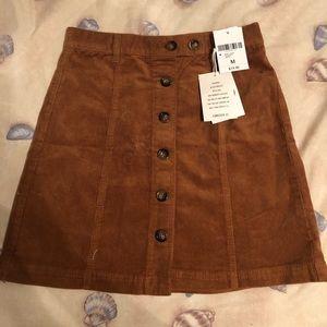 Cord Button Skirt